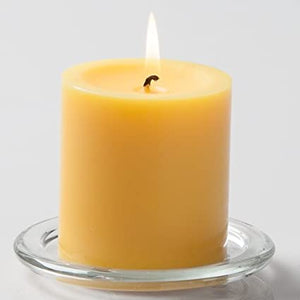 AuraDecor 3*3 Yellow Vanilla Scent Pillar Candle