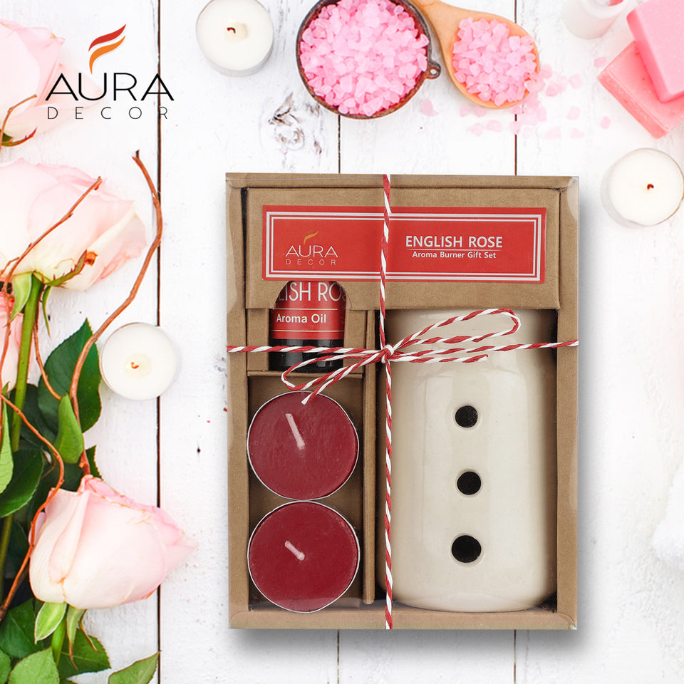 AuraDecor Aroma Oil Burner Gift Set ( English Rose )
