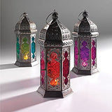 AuraDecor Assorted Colour Morocco Lantern with Tealight Candle
