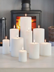 AuraDecor Bulk Buy White Pillar Candles in Different Sizes White Unscented