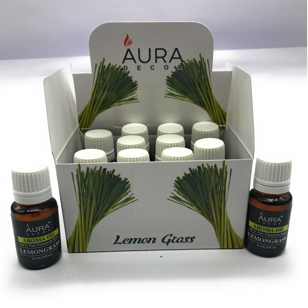 AuraDecor Undiluted Aromatherapy Oil Pack of 12 ( Lemongrass Oil , 10ml Each ) - auradecor.co.in