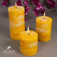 Vanilla Fragrance Chunk Pillar Candle ( 3*3, 3*4, 3*6 inch )