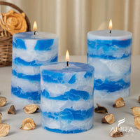 Sea Breeze Fragrance Chunk Pillar Candle ( 3*3, 3*4, 3*6 inch )