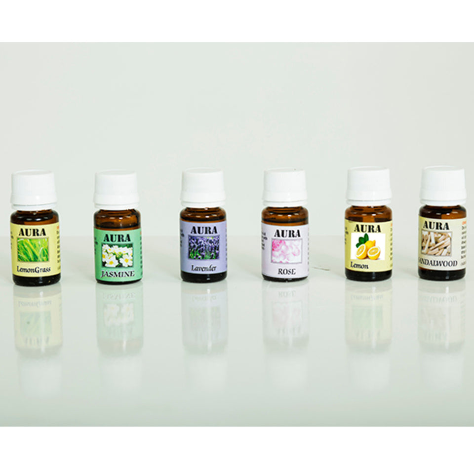 AuraDecor Set of 6 Aroma theraphy Oils (10 ml Each) - auradecor.co.in