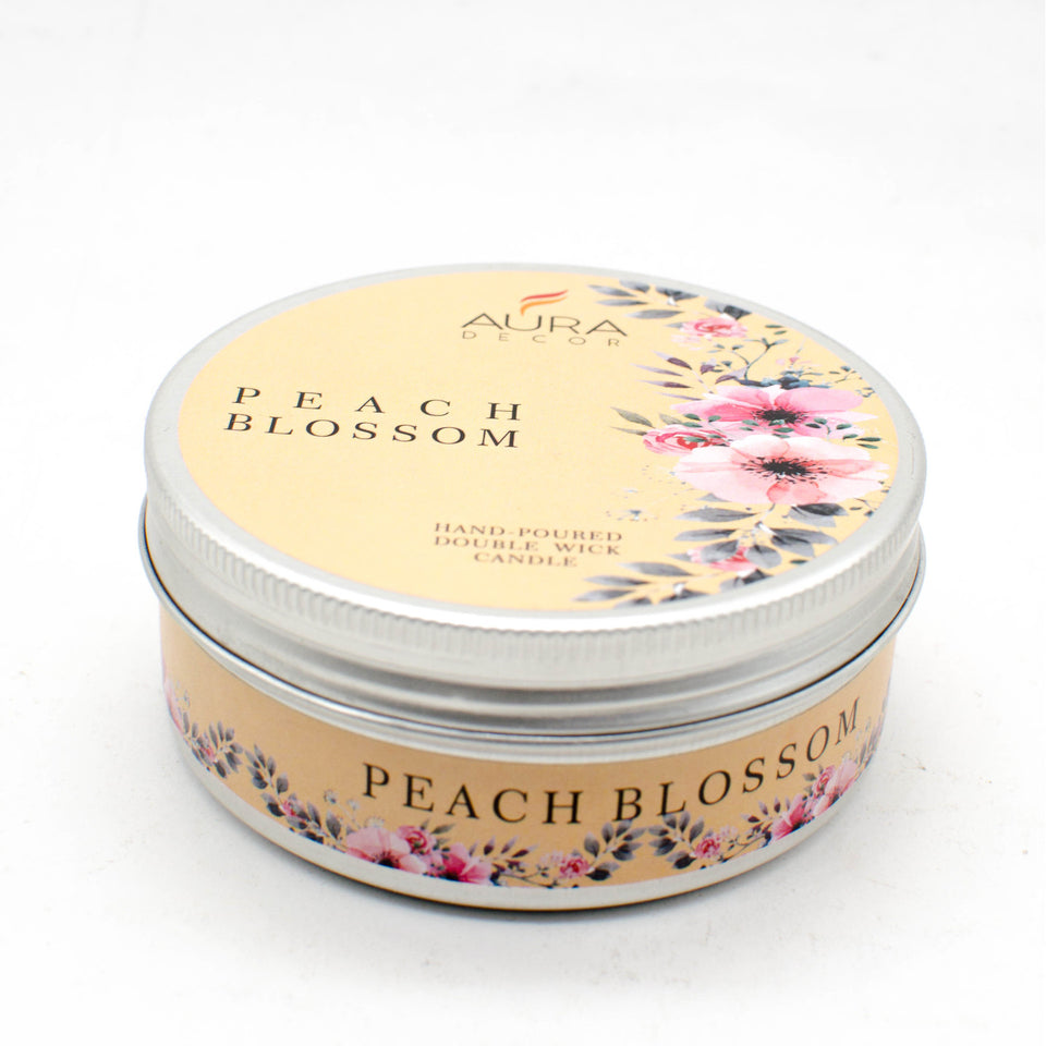 AuraDecor 2 Wick Tin Peach Blossom Fragrance Candles Burning Time 25 hours - auradecor.co.in