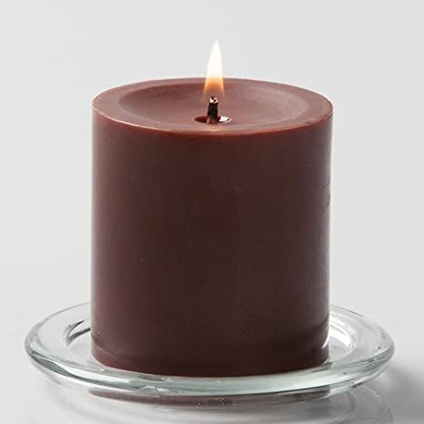 AuraDecor 3*3 Chocolate Scent Pillar Candle Brown