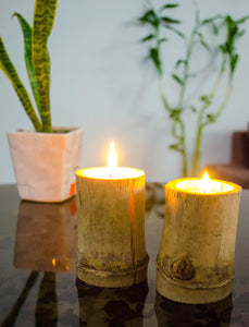AuraDecor Set of 2 Bamboo Candle cum T-Light Candle Holder