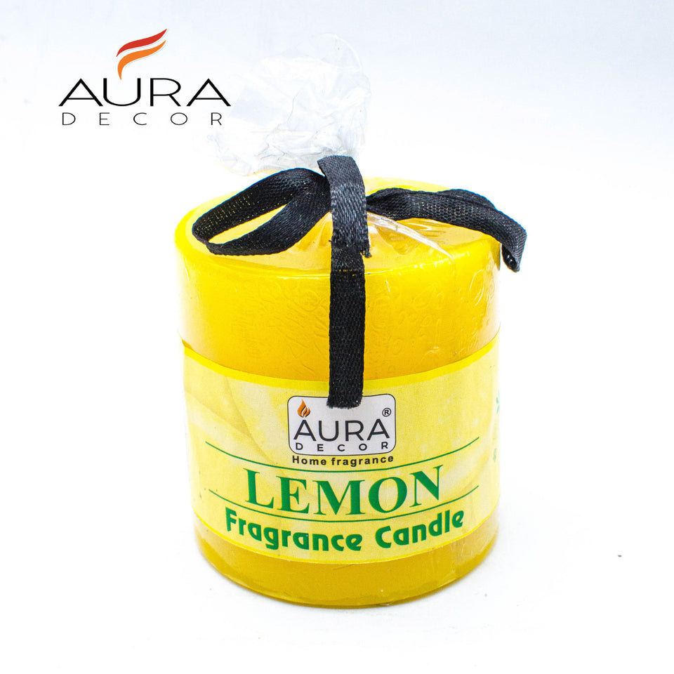 AuraDecor Set of 3 Fragrance Pillar Candle 2.5 *2.5 Inch Each ( Lemon, Rose, Lavender ) - auradecor.co.in