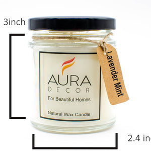 Natural Jar Candle Lavender & Mint Fragrance ( Soy Wax ) - auradecor.co.in