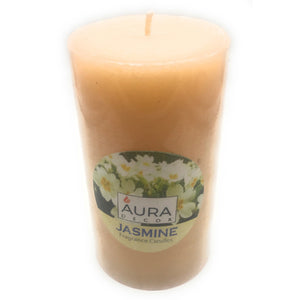 AuraDecor 3*6 Jasmine Fragrance Pillar Candle - auradecor.co.in