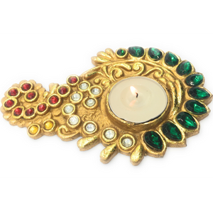 AuraDecor Tealight Holder  Ethnic Finish with a Tealight - auradecor.co.in