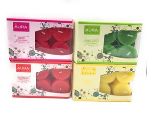 AuraDecor Bulk Pack of 24 Votive Each Pack of 6 ( Rasberry, Rose, Green Apple. Lemon) - auradecor.co.in