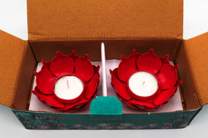 Lotus Shape Tealight Holder Gift Set of 2