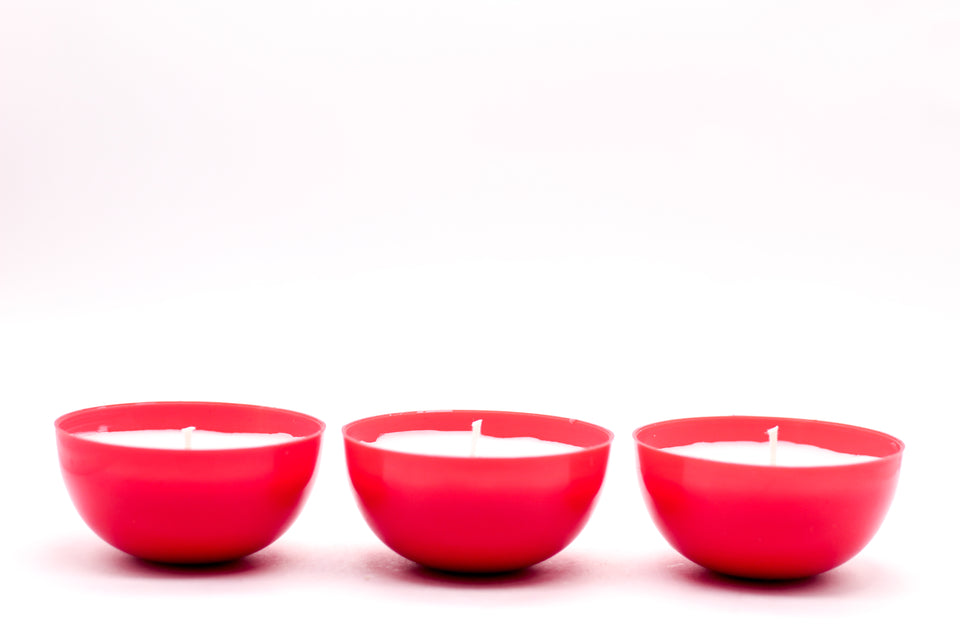 Set of 3 Red Cup Votive Candles ( Burning Time 24 Hours ) - auradecor.co.in