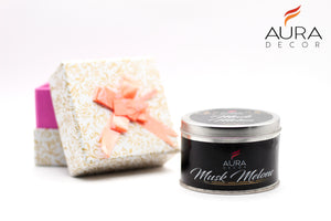 Wood Wick Tin Candle ( Musk Melon ) - auradecor.co.in
