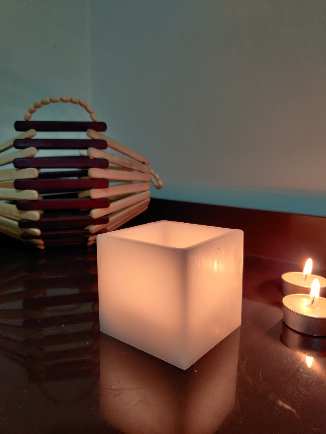 AuraDecor 4*4*4 Inch White Square Hollow Candle