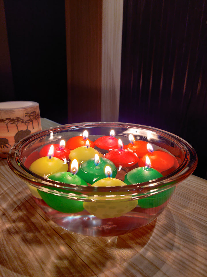 AuraDecor Multi Colour Floating Nuggets Candles Set of 12