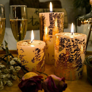 Set of 3 Gold Dust Pillar Candles - auradecor.co.in
