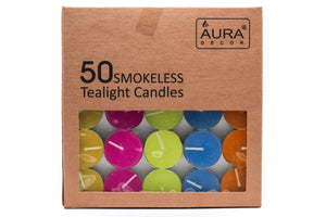 Pack of 50 MultiColour Tealight Candles - auradecor.co.in