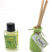 AuraDecor Reed Diffuser Gift pack with Diffuser Pot & 8 Reed Sticks & 30ml Reed Oil ( Lemongrass ) - auradecor.co.in