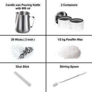 Candle Making Kit DIY Candles Craft Tools with Candle Make Pouring Pot and Spoon, 20Pcs Candle Wicks and Glue Stick & 1/2 kg Paraffin Wax