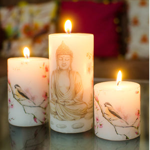 Set of 3 Buddha Image Printed Pillar Candles in a Gift Set - auradecor.co.in