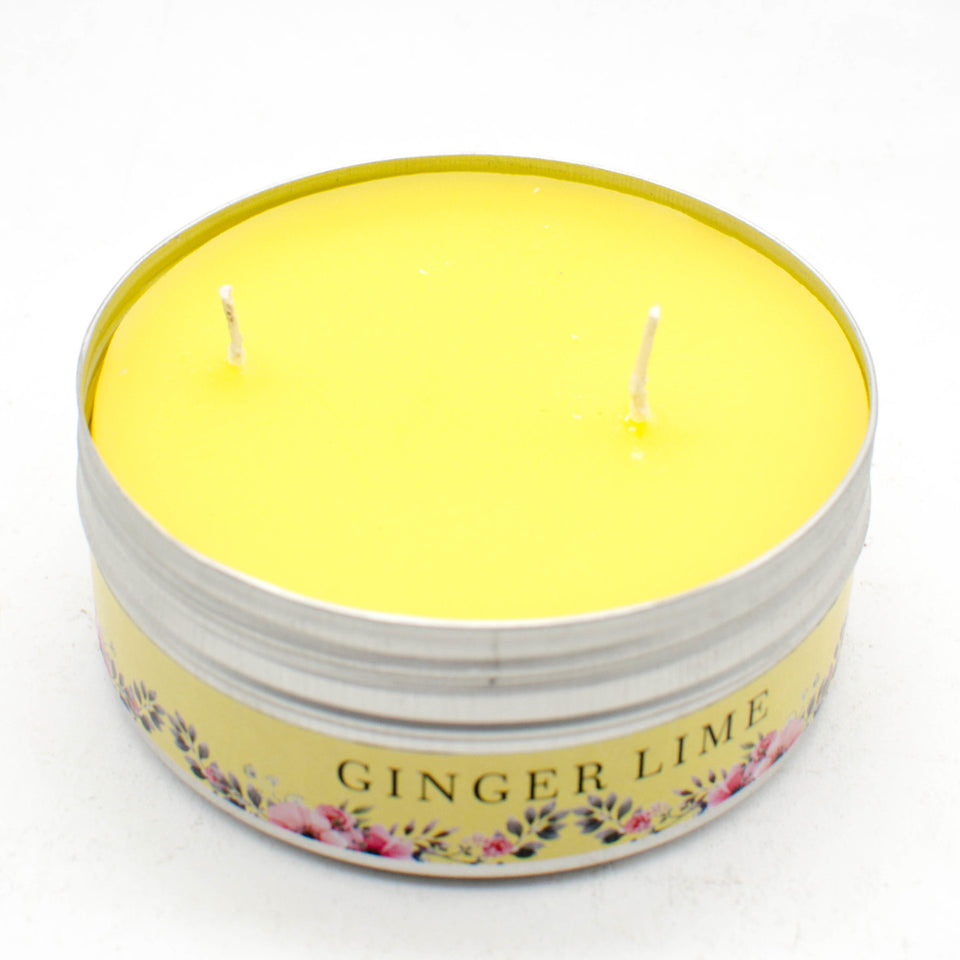 AuraDecor 2 Wick Ginger Lime Tin Candle Burning Time 25 hours - auradecor.co.in