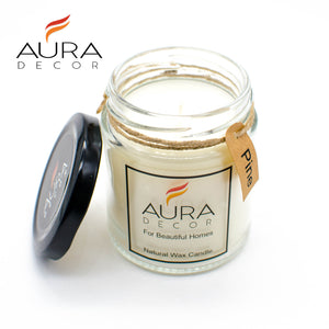 Natural Jar Candle Pine Fragrance ( Soy Wax ) - auradecor.co.in