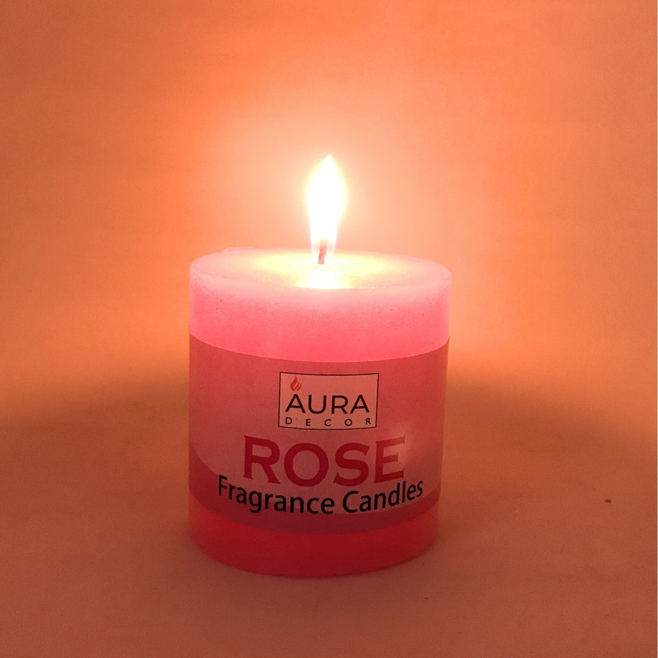 AuraDecor 3 Inch Rose Fragrance Pillar Candle - auradecor.co.in