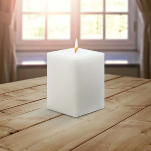 AuraDecor Bulk Buy Square 3*4*3 Inch Square Candle White Unscented ( Burning Time 45 Hours Each )