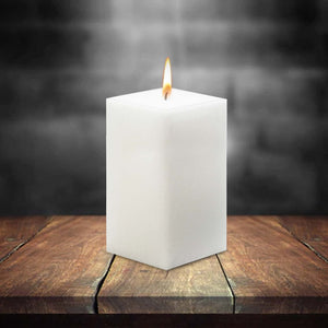 AuraDecor Bulk Buy Square 3*6*3 Inch Square Candle White Unscented ( Burning Time 90 Hours Each )