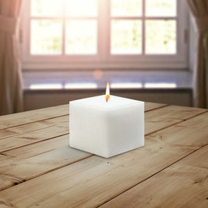 AuraDecor 3Inch Diameter Square White Candle Unscented ( Burning Time 45 to 90 Hours )