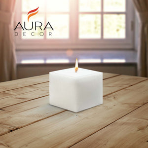 AuraDecor Bulk Buy Square 3*3*3 Inch Square Candle White Unscented ( Burning Time 45 Hours Each )