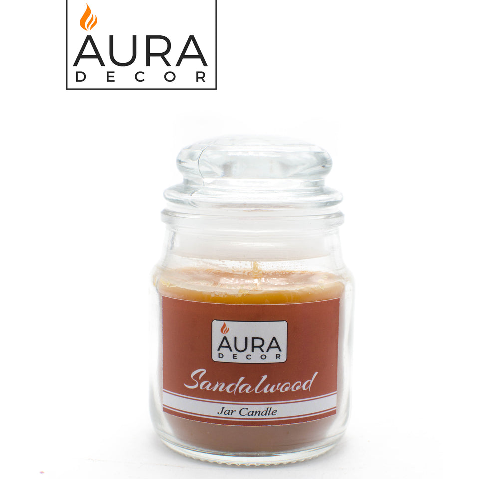 AuraDecor Buy 1 Get 1  Sandalwood Fragrance Jar Candles ( Burning Time 30 hours Each ) - auradecor.co.in