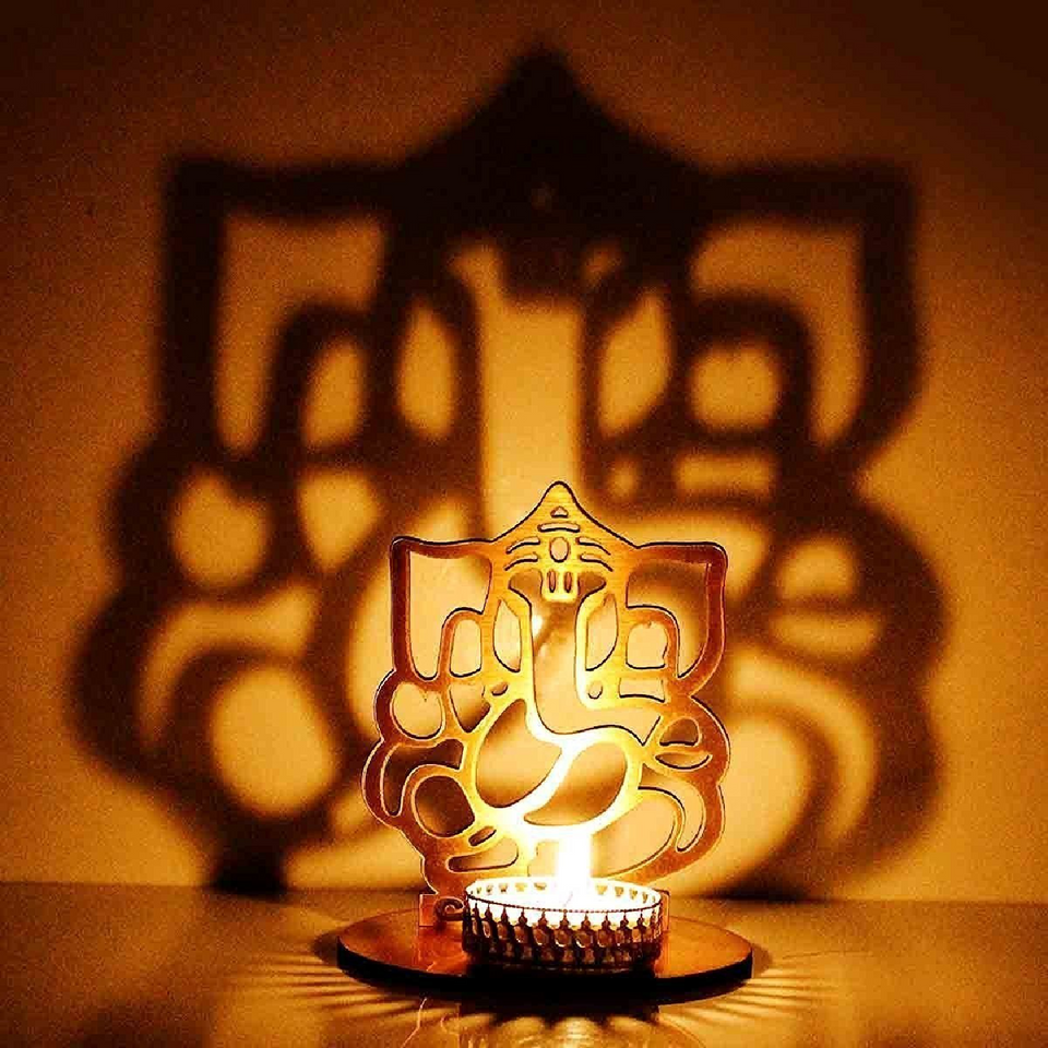 AuraDecor Divine Ganesha Tealight Holder with Tealight - auradecor.co.in