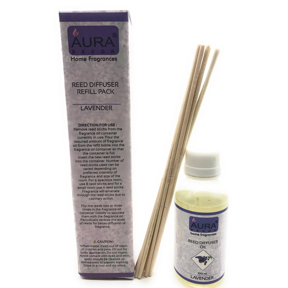 AuraDecor Reed Refill Pack with 8 new Reed Sticks ( 100ml Lavender ) - auradecor.co.in