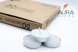 Pack of 50 Smokeless Tealight Candle (Burning Time 2.5 hours approx) - auradecor.co.in