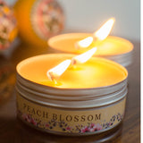 AuraDecor Set of 2 , Double Wick Tin Candle Peach Blossom Fragrance - auradecor.co.in
