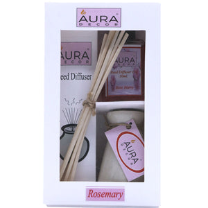 AuraDecor Reed Diffuser Gift pack with Diffuser Pot & 8 Reed Sticks & 30ml Reed Oil ( Rosemary ) - auradecor.co.in