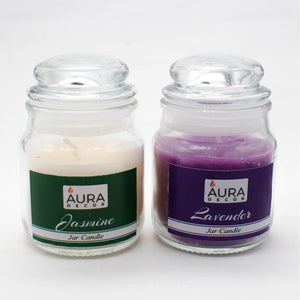 Set of 2 Highly Fragrance Jar Candles Lavender & Jasmine ( Burning Time 30 hours Each ) - auradecor.co.in