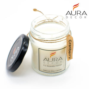 Natural Jar Candle Cranberry Fragrance ( Soy Wax ) - auradecor.co.in