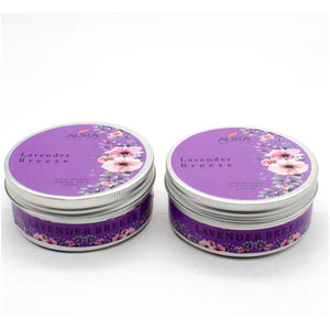 AuraDecor Set of 2 , Double Wick Tin Candle Lavender Breeze Fragrance Burning Time 25 hours - auradecor.co.in