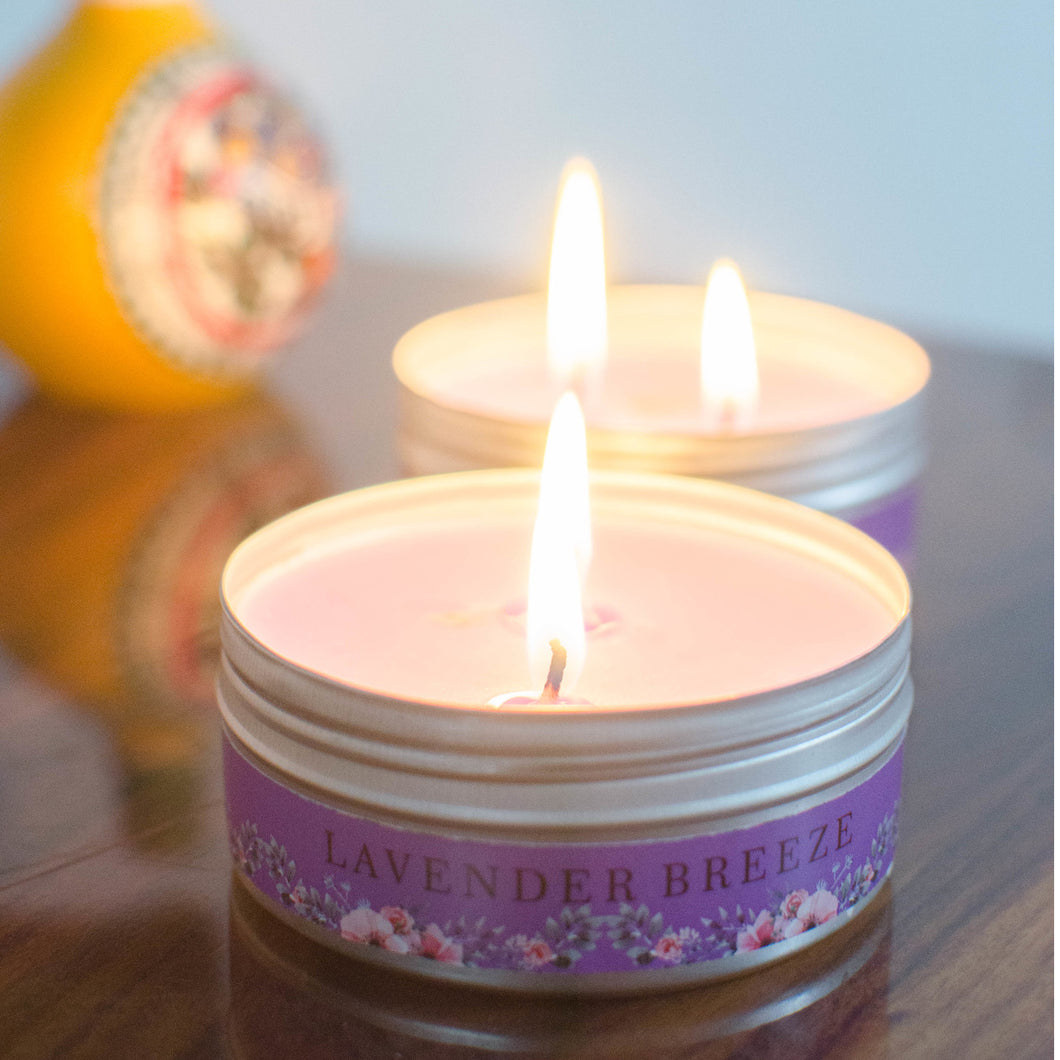 2 Wick Tin Candle ( Gift Set of 2 ), Lavender Breeze - auradecor.co.in