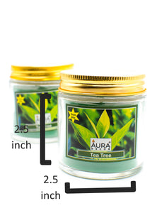 Gift Set of 2 Soy Wax Jar Candle TeaTree Fragrance - auradecor.co.in