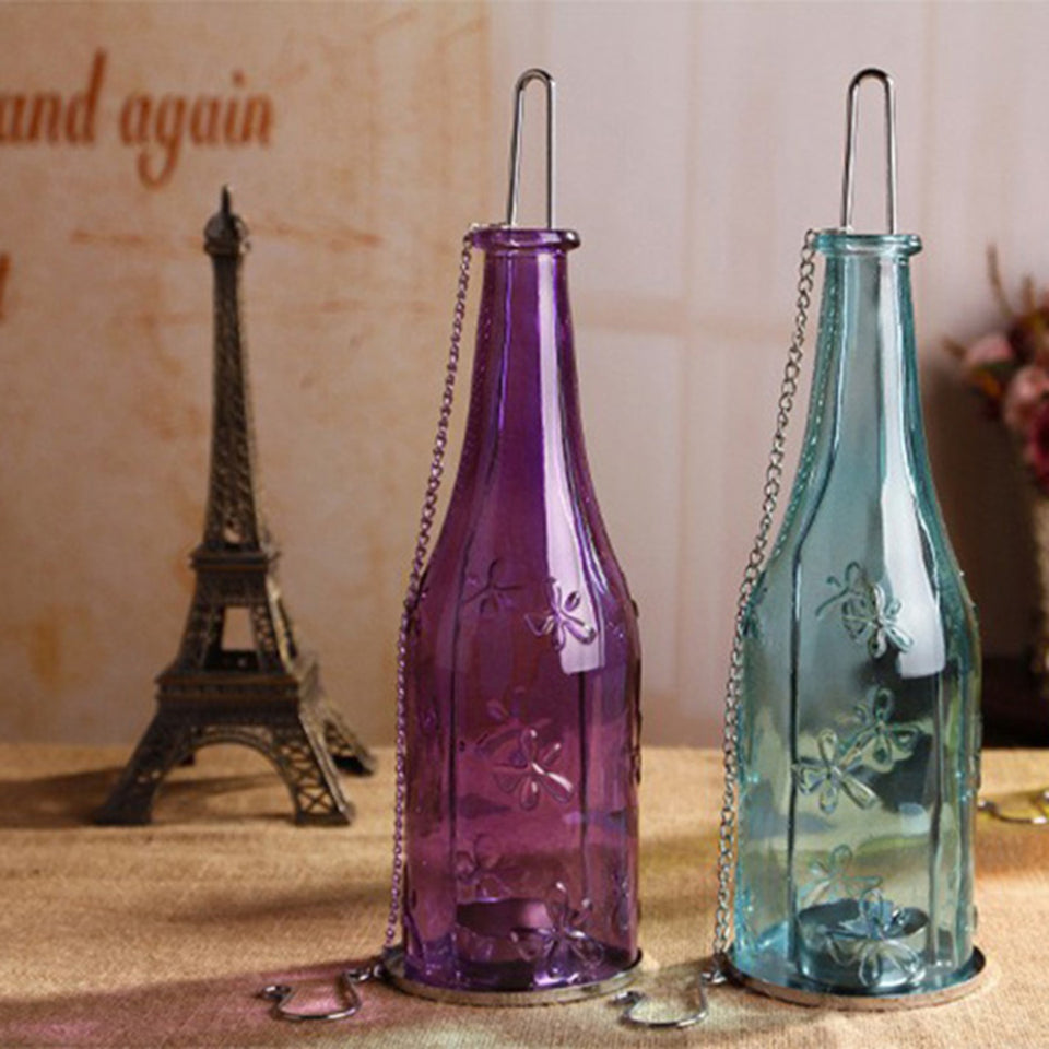 AuraDecorSet of 2 Bottle Shape Tealight Holder - auradecor.co.in