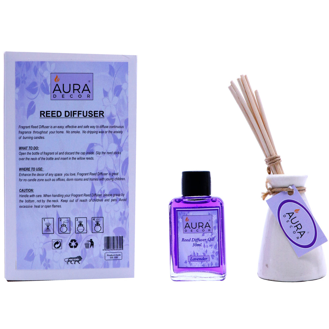 AuraDecor Reed Diffuser Gift pack with Diffuser Pot & 8 Reed Sticks & 30ml Reed Oil ( Lavender ) - auradecor.co.in