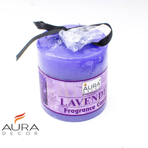 AuraDecor 2.5*2.5 Inch Lavender Fragrance Pillar Candle - auradecor.co.in