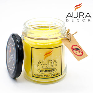AuraDecor Anti Mosquito & Bug Repellant Jar Candle ( 100% Natural Candle ) - auradecor.co.in