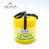 AuraDecor Lemon Fragrance 2.5*2.5 Inch Pillar Candle - auradecor.co.in