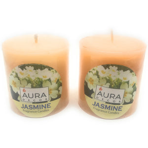 AuraDecor Set of 2 Jasmine Fragrance Pillar Candle 3*3 Inches - auradecor.co.in